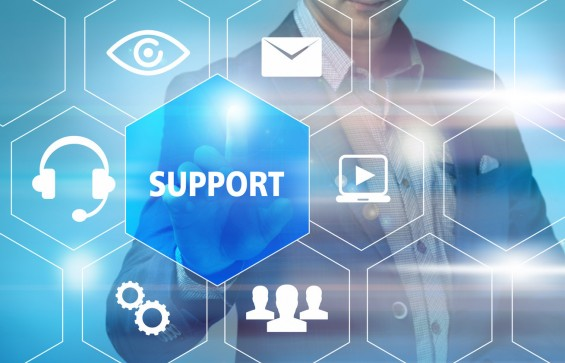 business, technology, internet and networking concept - businessman pressing Customer Support button on virtual screens